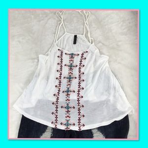 FULL TILT EMBROIDERED STRAPPY BACK TANK TOP S